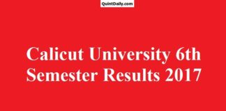 Calicut University 6th Semester Degree Results 2017