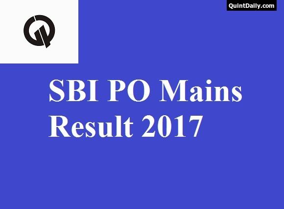 SBI PO Mains Result 2017