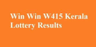 Win Win W415 Kerala Lottery Results