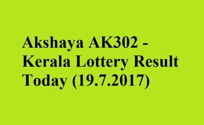 Akshaya AK302- Kerala Lottery Result Today (19.7.2017)