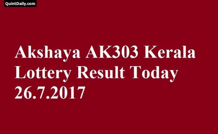 Akshaya AK303 Kerala Lottery Result Today 26.7.2017