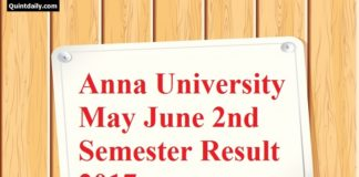 Anna University May June 2nd Semester Result 2017