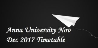 Anna University Nov Dec 2017 Timetable