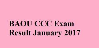 BAOU CCC Exam Result January 2017