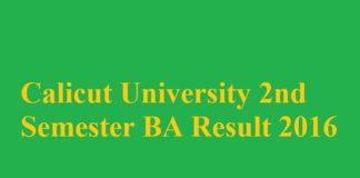 Calicut University 2nd Semester BA Result 2016