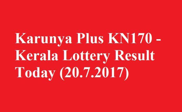 Karunya Plus KN170 - Kerala Lottery Result Today (20.7.2017)
