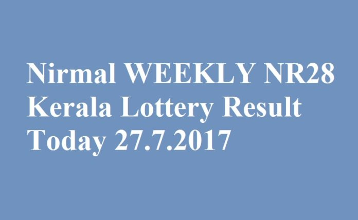 Nirmal WEEKLY NR28 Kerala Lottery Result Today 27.7.2017