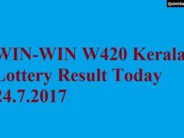 WIN WIN W420 Kerala Lottery Result Today 24.7.2017