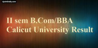 2nd Sem Calicut University Result - (CUCBCSS) B.Com/BBA/B.Com