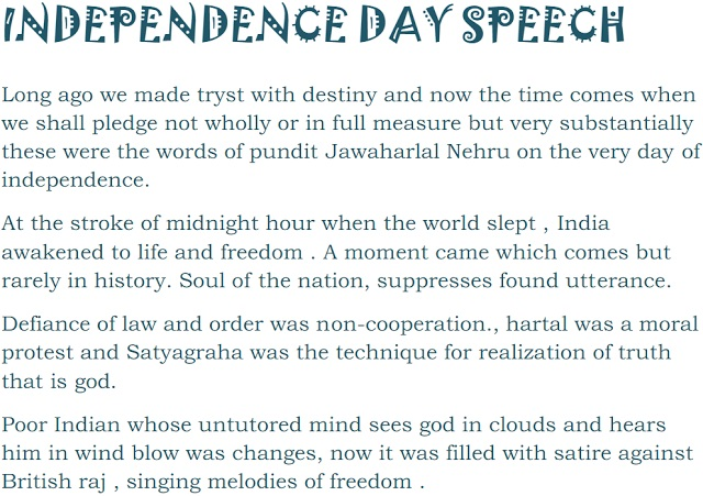 Independence day Speech,Essay 2017 - QuintDaily