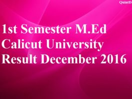 1st Semester M.Ed Calicut University Result December 2016