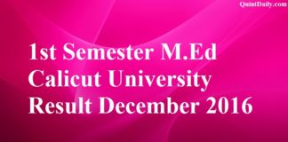 1st Semester M.Ed Calicut University Result December 2016