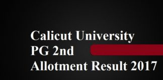 Calicut University PG 2nd Allotment Result 2017