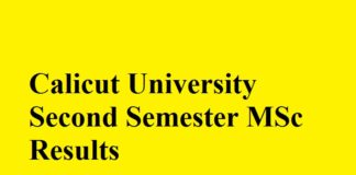 Calicut University Second Semester MSc Results
