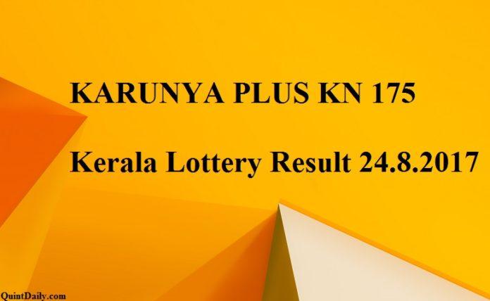 KARUNYA PLUS KN 175 Kerala Lottery Result 24.8.2017