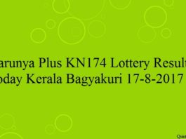 Karunya Plus KN174 Lottery Result Today Kerala Bagyakuri 17-8-2017