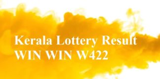 Kerala Lottery Result WIN WIN W422 Lottery Result