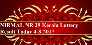 NIRMAL NR 29 Kerala Lottery Result Today 4-8-2017