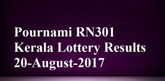 Pournami RN301 Kerala Lottery Results 20-August-2017
