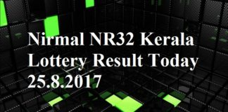 Nirmal NR32 Kerala Lottery Result Today 25.8.2017