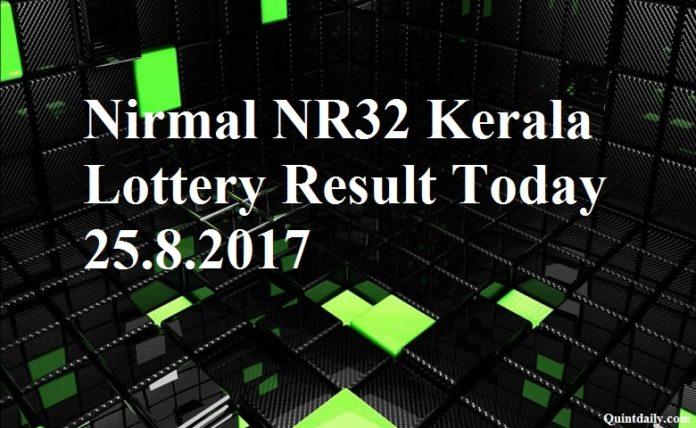 Nirmal NR32 Kerala Lottery Result Today 25.8.2017