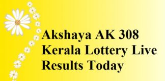 Akshaya AK 308 Kerala Lottery Live Results Today 30-8-2017