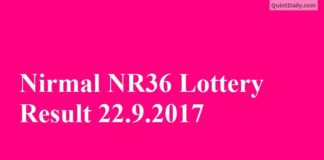 Nirmal NR36 Lottery Result