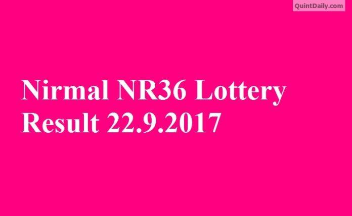 Nirmal NR36 Lottery Result