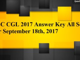 SSC CGL 2017 Answer Key