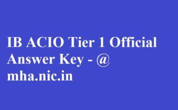 IB ACIO Tier 1 Answer Key