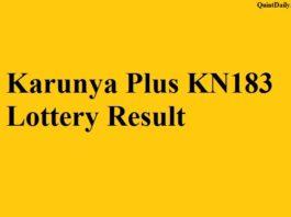 Karunya Plus KN183 Lottery Result