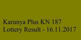 Kerala Lottery Result 16.11.2017 Karunya Plus KN 187