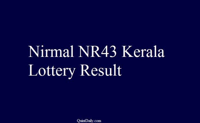Nirmal NR 43 Kerala Lottery Result