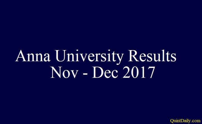 Anna University Results Nov Dec 2017