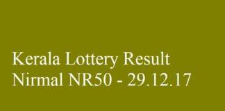 Kerala Lottery Result Today Nirmal NR50 - 29.12.2017
