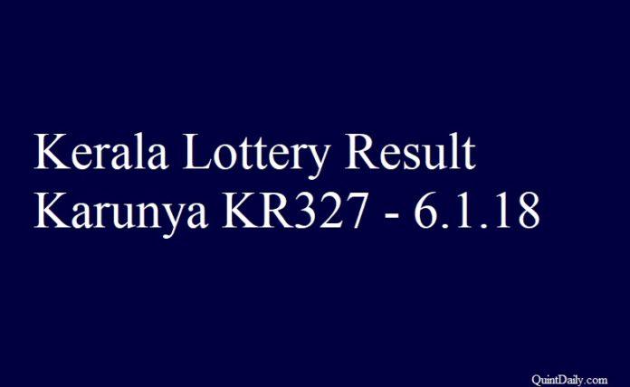 Kerala Lottery Result Today Karunya KR327 - 6.1.2018