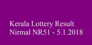 Kerala Lottery Result Today Nirmal NR51 - 5.1.2018