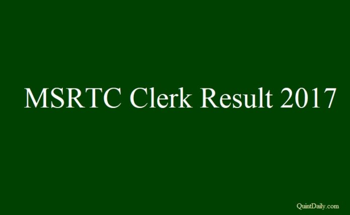 MSRTC Clerk Result 2017
