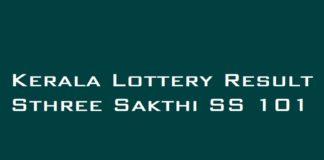 Kerala Lottery Result Sthree Sakthi SS 101