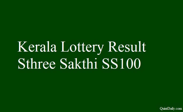 Kerala Lottery Result Sthree Sakthi SS100 Lottery 3 4 2018