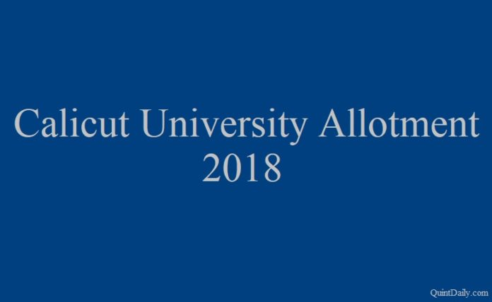 Calicut University Allotment 2018