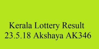 Kerala Lottery Result 23.5.2018 Akshaya AK346
