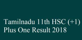 Tamilnadu Plus one Result 2018
