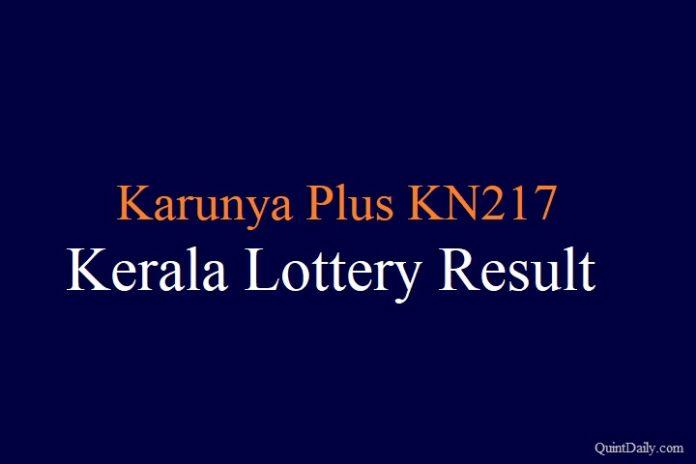 Karunya Plus KN217 - Kerala Lottery Result 14.6.2018