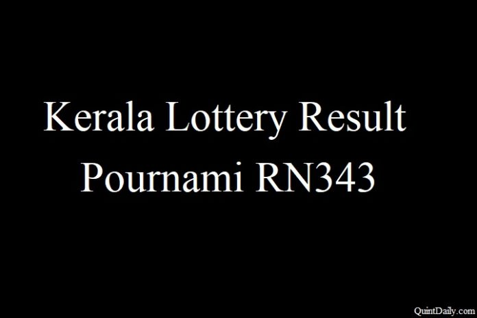 Kerala Lottery Result 10.6.2018 Pournami RN343