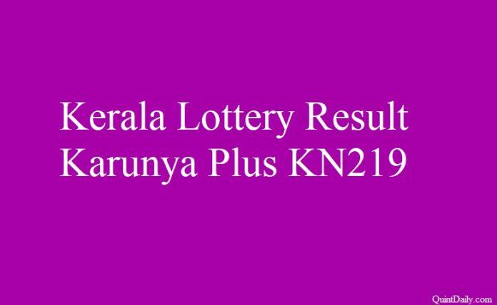 Kerala Lottery Result 28.6.2018 Karunya Plus KN219
