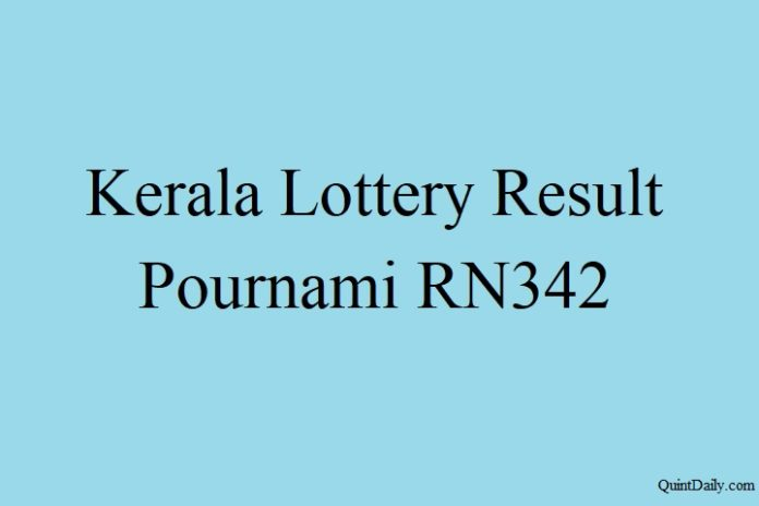 Kerala Lottery Result 3.6.2018 Pournami RN342