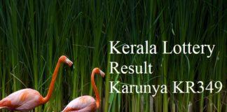 Kerala Lottery Result 9.6.2018 Karunya KR349