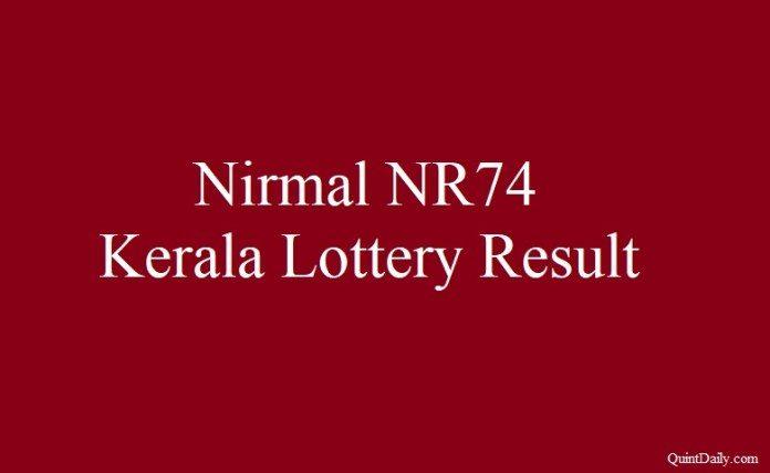 Nirmal NR74 Kerala Lottery Result 22.6.2018