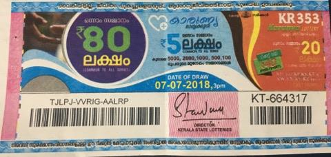Karunya KR353 Kerala Lottery Result